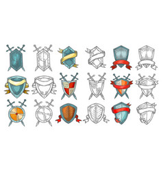 set retro or medieval shields sketches vector image