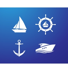 Ship Wheel Anchor and Yacht logo - isolated vector