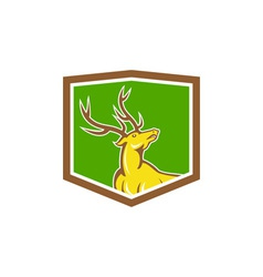 Stag Deer Looking Up Shield Cartoon vector