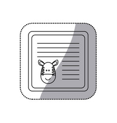 Sticker monochrome card with male zebra head vector