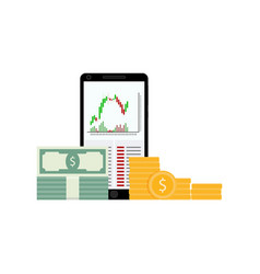 stock trading on smartphone vector image