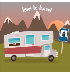 Summer Camp with Camper Time to Travel vector image