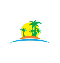 summer travel sea business logo vector image