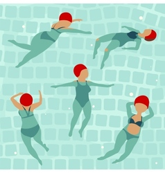 Swimming Women in Pool vector