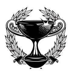 template with prize cup on sports theme vector image