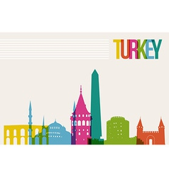 Travel Turkey destination landmarks skyline vector