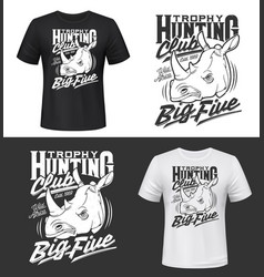 tshirt print with rhino head hunting trophy vector image