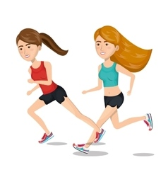 Two girl cartoon running jogging icon graphic vector