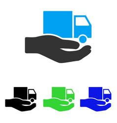 Van delivery service hand flat icon vector
