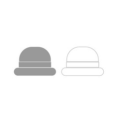 vintage top hat grey set icon vector image