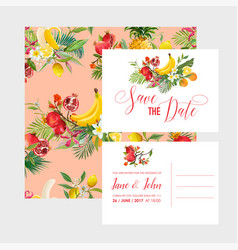 Wedding invitation template set tropical fruits vector