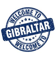 Welcome to gibraltar blue round vintage stamp vector