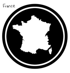 White map of france on black circle vector