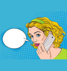 Young pretty woman is talking by the phone vector