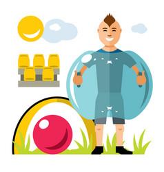 zorbing soccer bumper ball inflatable vector image