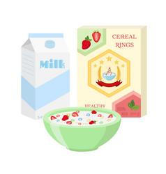 Breakfast set - milk cereal berries healthy food vector