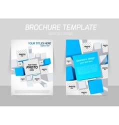 Brochure template with blue squares vector image