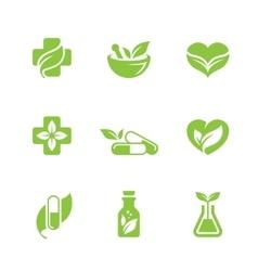 Herbal medicine icons set vector image vector image