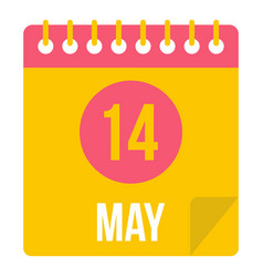 may 14 calendar icon isolated vector image