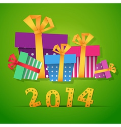 New year origami paper gift boxes vector image vector image