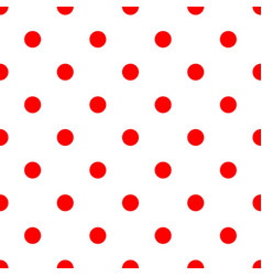 seamless polka dot pattern red dots on white vector image vector image