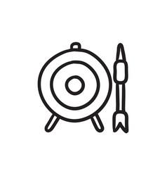 Target board and arrow sketch icon vector