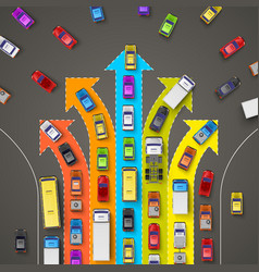 traffic jam with directional arrows vector image vector image
