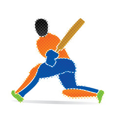 cricket player hitting big shoot concept design vector image