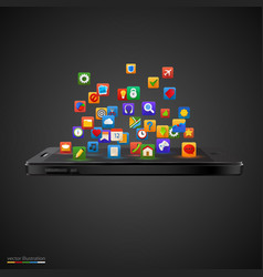 smartphone with cloud of application icons vector image vector image