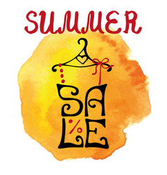 summer sale letteringshirtwatercolor yellow vector image