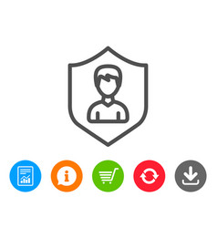 user protection line icon male profile sign vector image