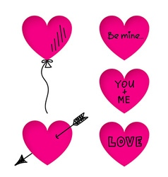 Valentines Day heart stickers with doodle titles vector image vector image