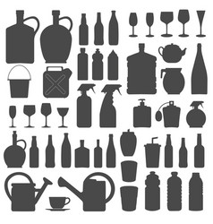 beverage bottle and glass icons silhouettes vect vector image