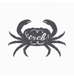 Hand drawn crab hipster silhouette handwritten vector