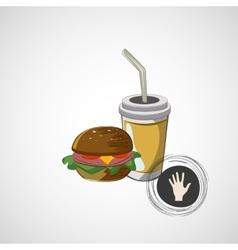 icon of fast food sandwich and a drink vector image
