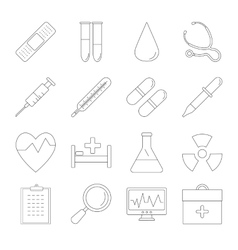 Medicine and Health line icons vector image