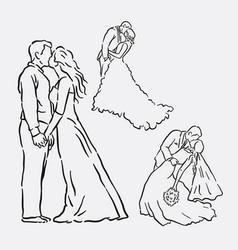 Wedding romantic couple sketches vector