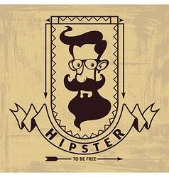hipster head emblem vector image vector image