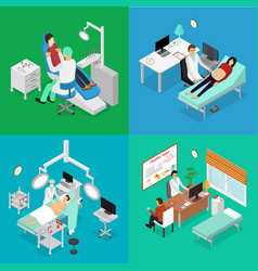 patient and doctor appointment isometric view vector image vector image