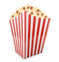 popcorn in striped cardboard package stock vector image vector image