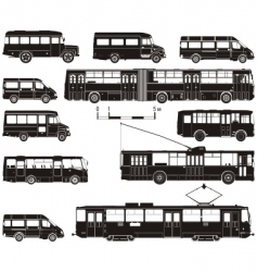 transportation silhouettes vector image vector image