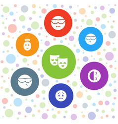 7 cheerful icons vector