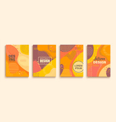 Abstract set autumn doodle geometric banners vector