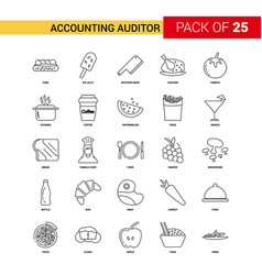 Accounting auditor black line icon - 25 business vector