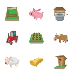 Animal farm icons set cartoon style vector