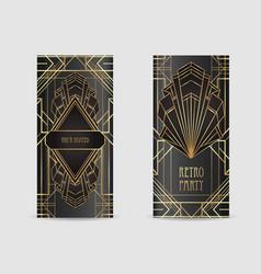 Art deco vintage patterns and design elements vector
