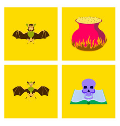 Assembly flat halloween spider bat ghost book vector