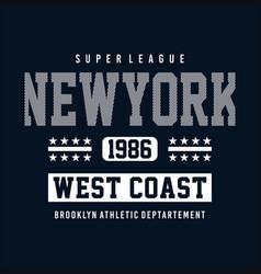 athletic sport new york typography tee shirt vector image