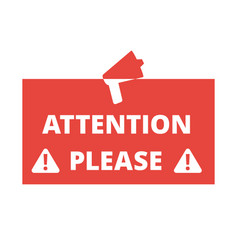 attention please red badge or banner with vector image