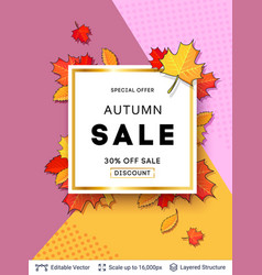 autumn sale background template vector image